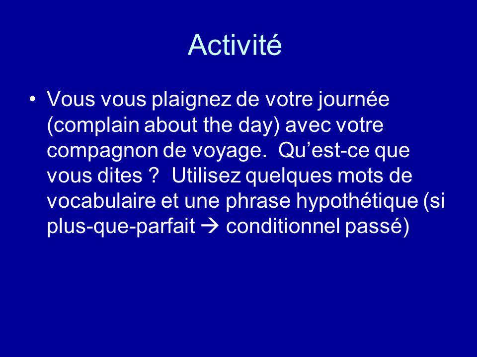 Activité Vous vous plaignez de votre journée (complain about the day) avec votre compagnon de voyage. Quest-ce que vous dites ? Utilisez quelques mots
