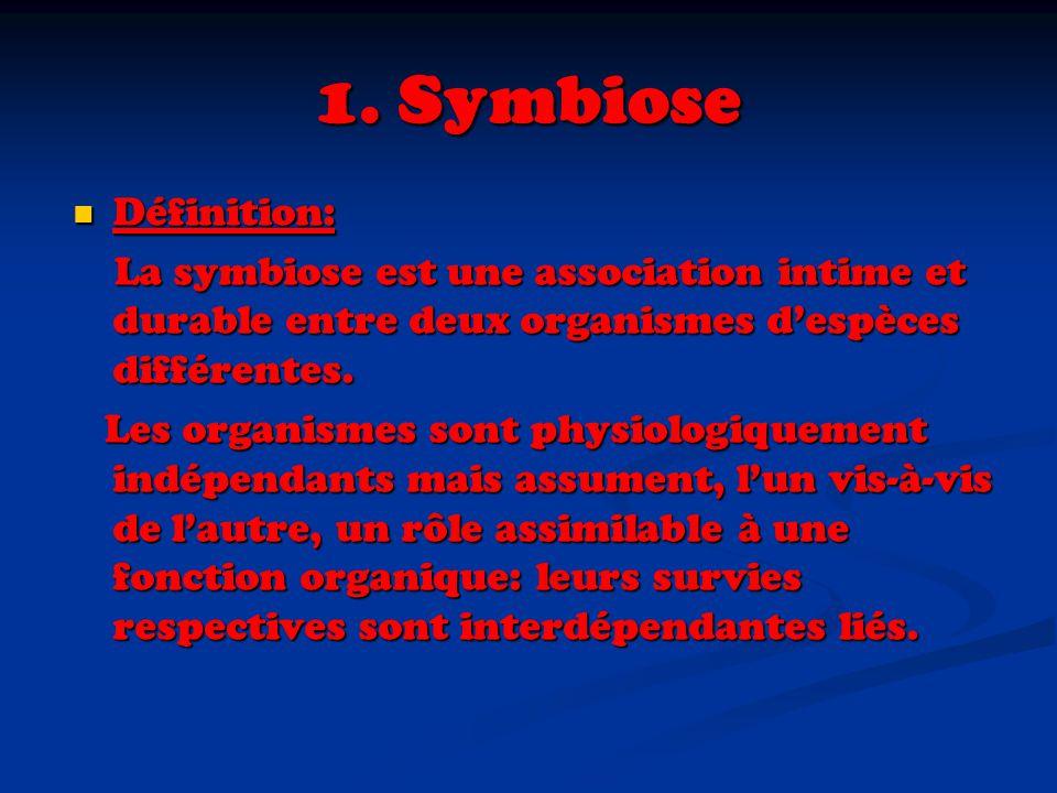1. Symbiose Définition: Définition: La symbiose est une association intime et durable entre deux organismes despèces différentes. La symbiose est une