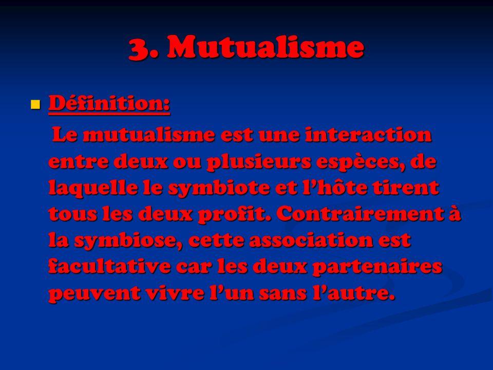 3. Mutualisme Définition: Définition: Le mutualisme est une interaction entre deux ou plusieurs espèces, de laquelle le symbiote et lhôte tirent tous