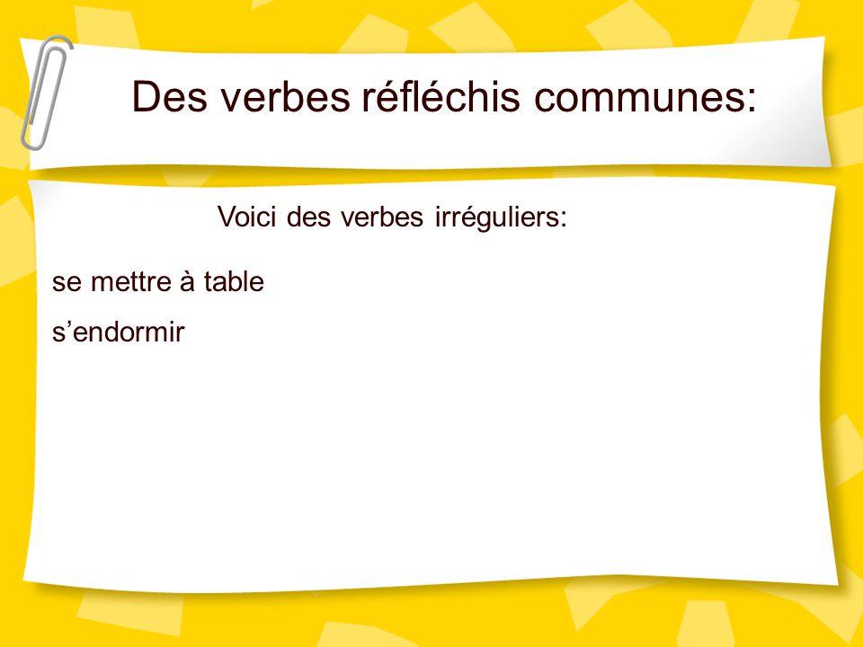 Des verbes réfléchis communes: Voici des verbes irréguliers: se mettre à table sendormir