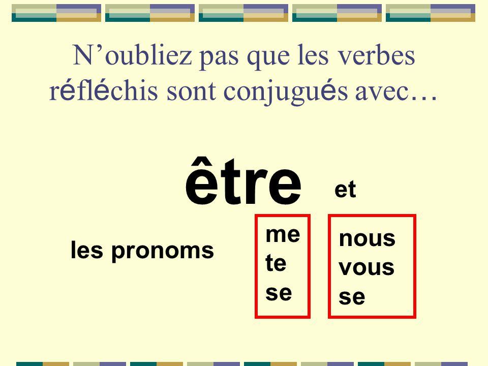 Noubliez pas que les verbes r é fl é chis sont conjugu é s avec … être et les pronoms me te se nous vous se