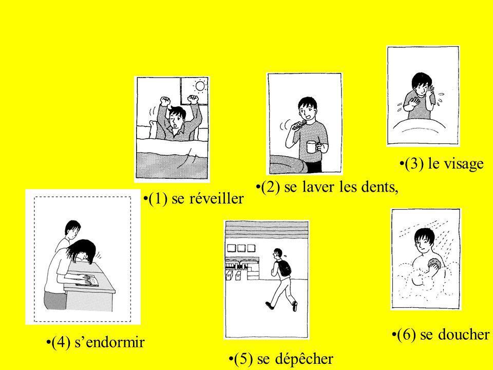 (1) se réveiller (2) se laver les dents, (3) le visage (4) sendormir (6) se doucher (5) se dépêcher