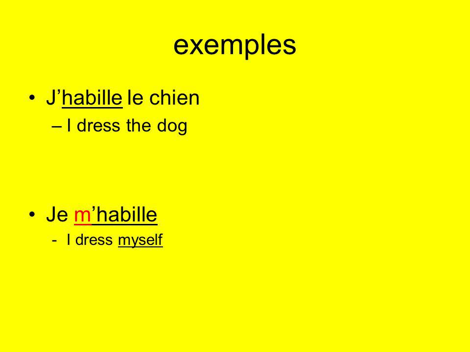 exemples Jhabille le chien –I dress the dog Je mhabille -I dress myself