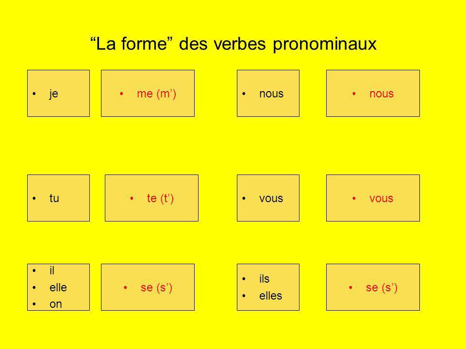 La forme des verbes pronominaux je me (m) tu te (t_) il/elle on se (s) nous vous Ils/elles se (s) jeme (m) tute (t) il elle on se (s) nous vous ils elles se (s)