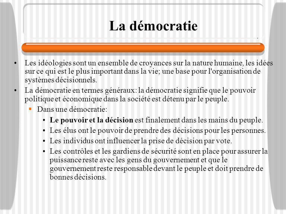 Dans une démocratie continuée: Le leadership est représentatif et les dirigeants sont choisis, donné de l autorité et devrait agir au nom de la société.