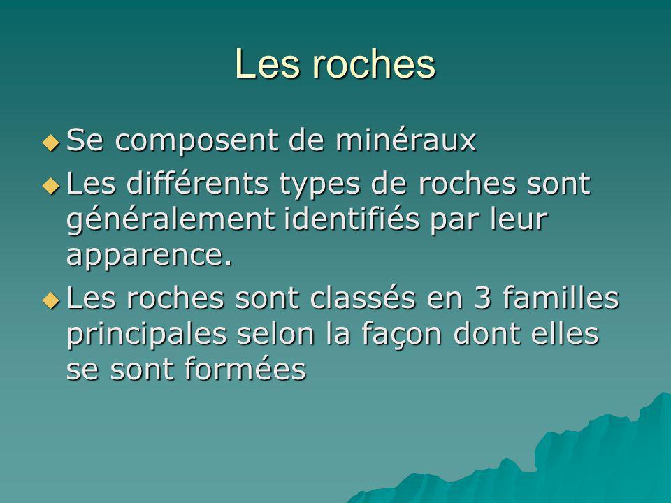 Se composent de minéraux Se composent de minéraux Les différents types de roches sont généralement identifiés par leur apparence. Les différents types