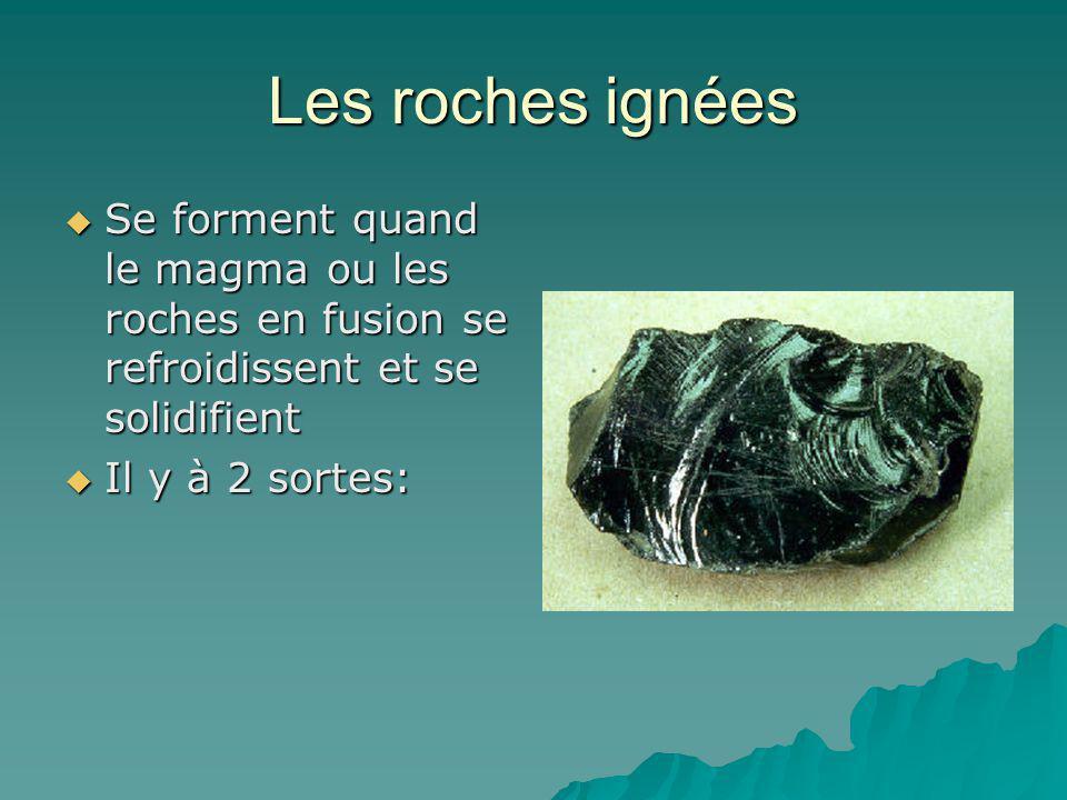 Les roches ignées Se forment quand le magma ou les roches en fusion se refroidissent et se solidifient Se forment quand le magma ou les roches en fusi