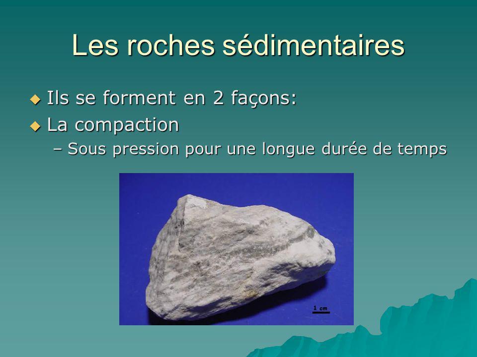 Les roches sédimentaires Ils se forment en 2 façons: Ils se forment en 2 façons: La compaction La compaction –Sous pression pour une longue durée de t