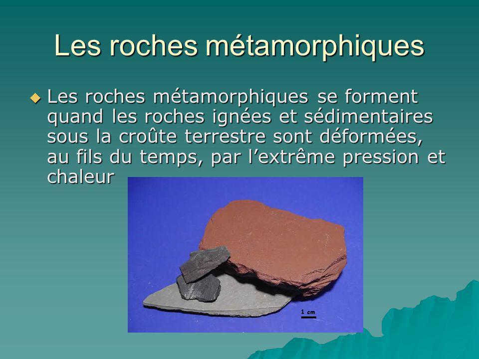 Les roches métamorphiques Les roches métamorphiques se forment quand les roches ignées et sédimentaires sous la croûte terrestre sont déformées, au fi