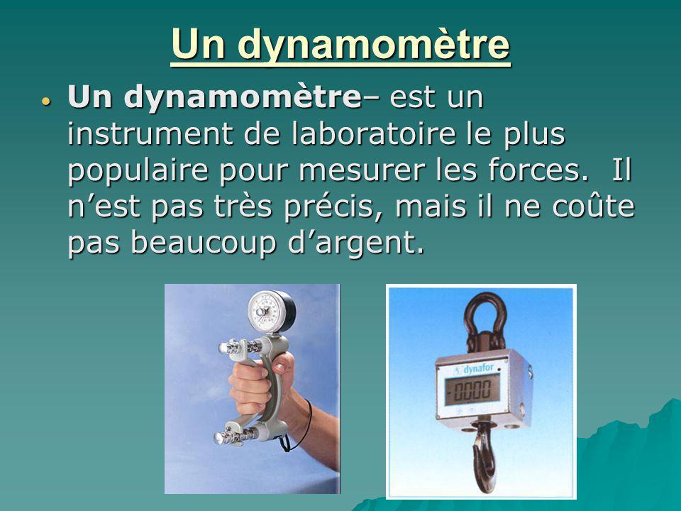 Un dynamomètre Un dynamomètre– est un instrument de laboratoire le plus populaire pour mesurer les forces. Il nest pas très précis, mais il ne coûte p