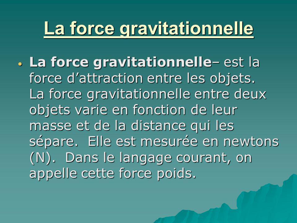 La force gravitationnelle La force gravitationnelle– est la force dattraction entre les objets. La force gravitationnelle entre deux objets varie en f