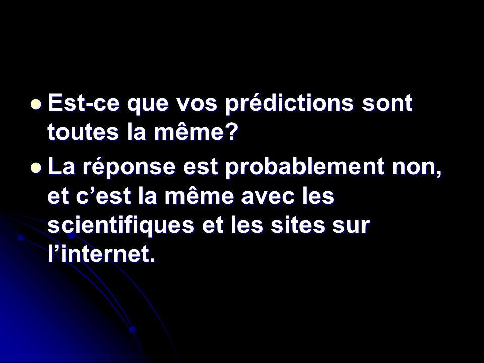 Est-ce que vos prédictions sont toutes la même? Est-ce que vos prédictions sont toutes la même? La réponse est probablement non, et cest la même avec