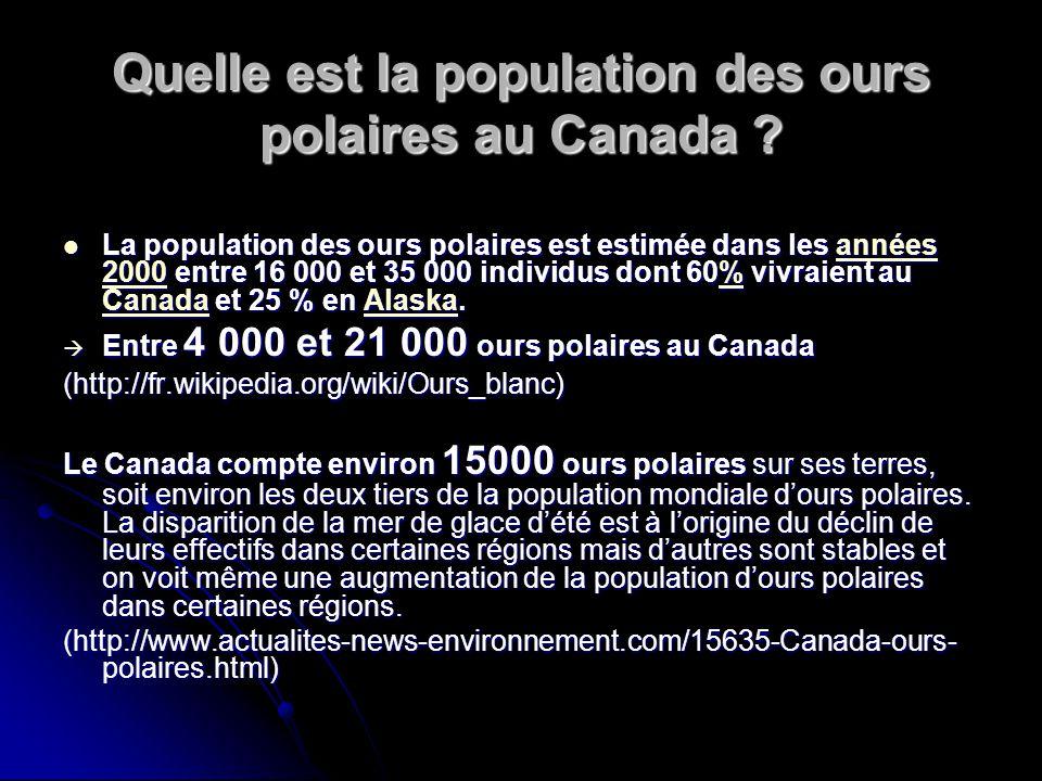 Quelle est la population des ours polaires au Canada ? La population des ours polaires est estimée dans les années 2000 entre 16 000 et 35 000 individ