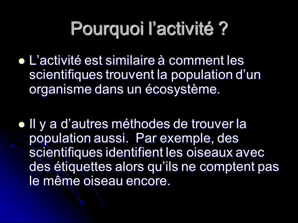 Pourquoi lactivité ? Lactivité est similaire à comment les scientifiques trouvent la population dun organisme dans un écosystème. Lactivité est simila