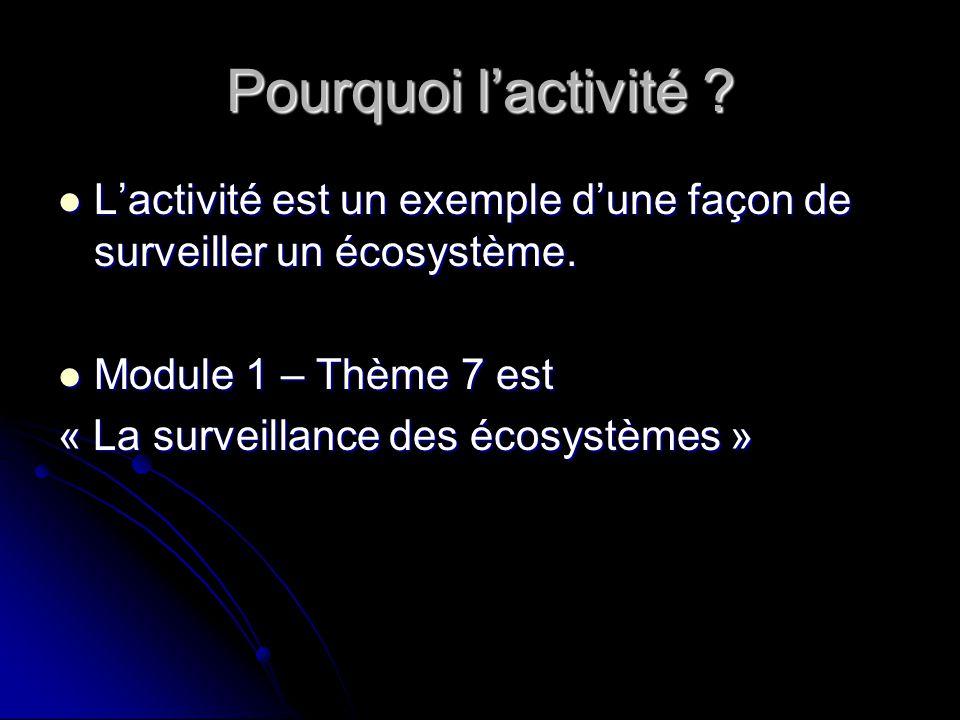 Pourquoi lactivité ? Lactivité est un exemple dune façon de surveiller un écosystème. Lactivité est un exemple dune façon de surveiller un écosystème.