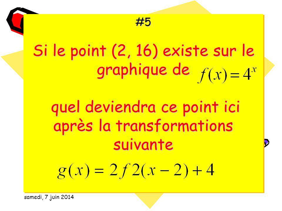 samedi, 7 juin 2014 #4 Résous léquation suivante algébriquement ou graphiquement: