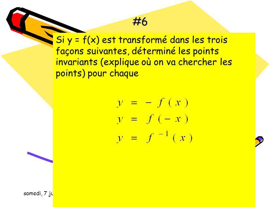 samedi, 7 juin 2014 Si le point (2, 16) existe sur le graphique de quel deviendra ce point ici après la transformations suivante #5