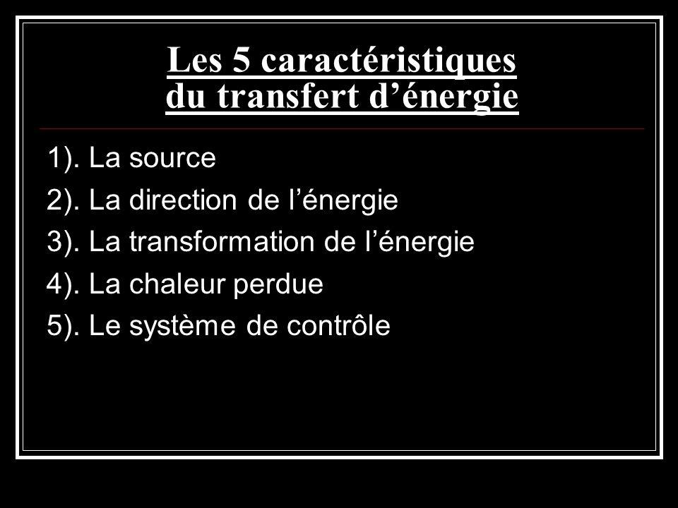 Les 5 caractéristiques du transfert dénergie 1). La source 2). La direction de lénergie 3). La transformation de lénergie 4). La chaleur perdue 5). Le