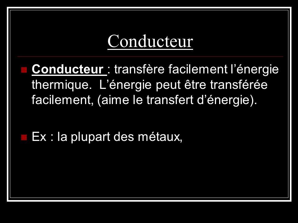 Conducteur Conducteur : transfère facilement lénergie thermique. Lénergie peut être transférée facilement, (aime le transfert dénergie). Ex : la plupa
