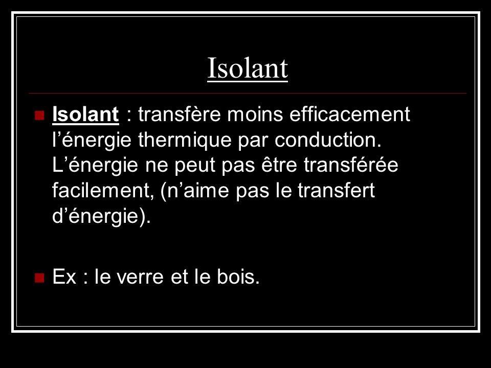 Isolant Isolant : transfère moins efficacement lénergie thermique par conduction. Lénergie ne peut pas être transférée facilement, (naime pas le trans