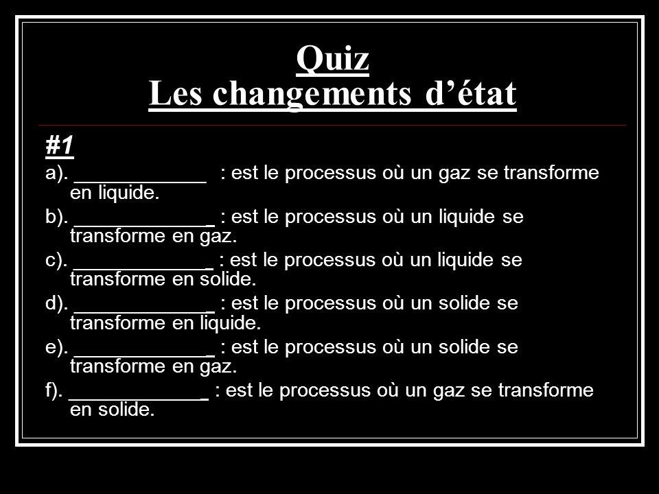 Quiz Les changements détat #1 a). ____________ : est le processus où un gaz se transforme en liquide. b). ____________ : est le processus où un liquid
