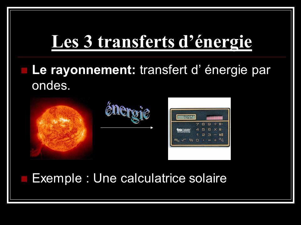 Les 3 transferts dénergie Le rayonnement: transfert d énergie par ondes. Exemple : Une calculatrice solaire