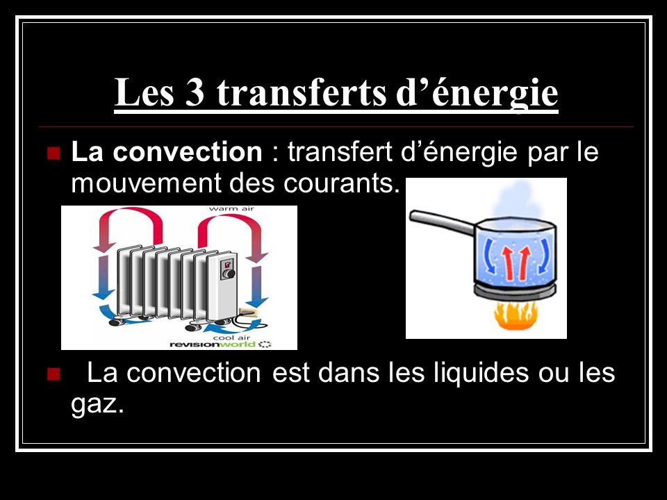 Les 3 transferts dénergie La convection : transfert dénergie par le mouvement des courants. La convection est dans les liquides ou les gaz.