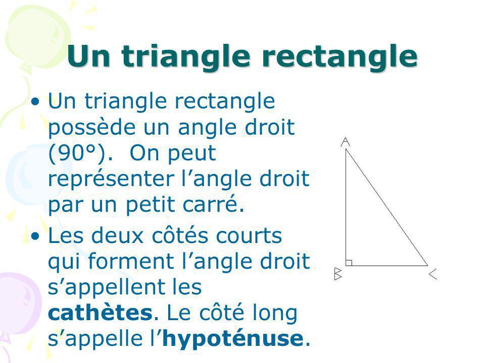Question Tu as un triangle rectangle.La longueur des deux cathètes sont de 3 et 4 cm.
