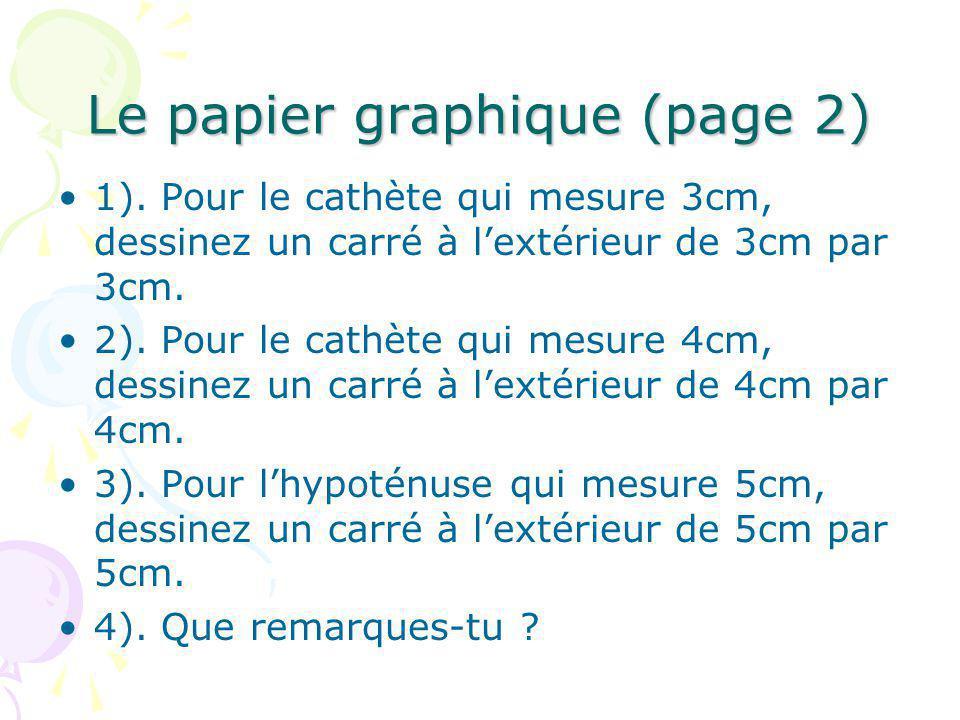 Le papier graphique (page 2) 1). Pour le cathète qui mesure 3cm, dessinez un carré à lextérieur de 3cm par 3cm. 2). Pour le cathète qui mesure 4cm, de