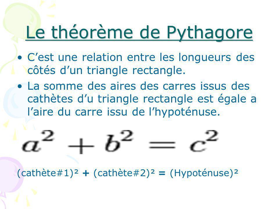 Question Quelle est la longueure de lhypoténuse ?