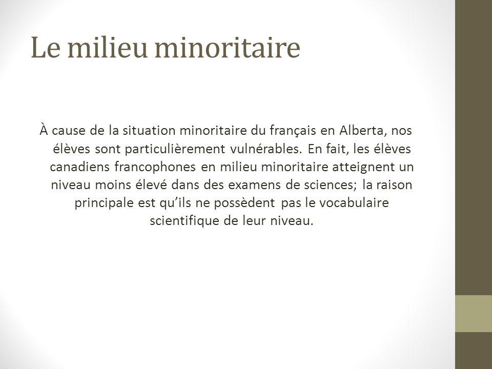 Le milieu minoritaire À cause de la situation minoritaire du français en Alberta, nos élèves sont particulièrement vulnérables.