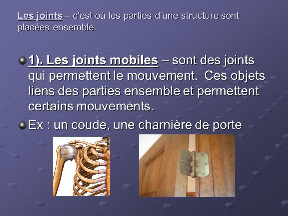 Les joints – cest où les parties dune structure sont placées ensemble. 1). Les joints mobiles – sont des joints qui permettent le mouvement. Ces objet