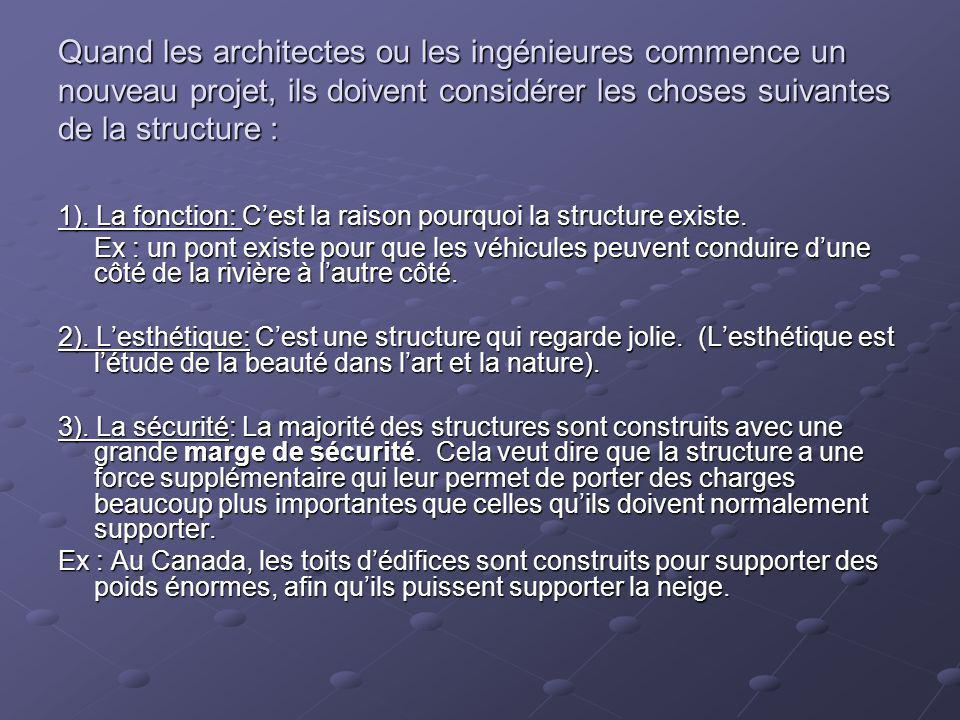 Quand les architectes ou les ingénieures commence un nouveau projet, ils doivent considérer les choses suivantes de la structure : 1). La fonction: Ce