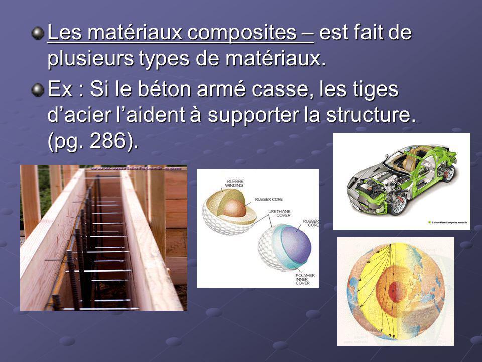 Les matériaux composites – est fait de plusieurs types de matériaux. Ex : Si le béton armé casse, les tiges dacier laident à supporter la structure. (