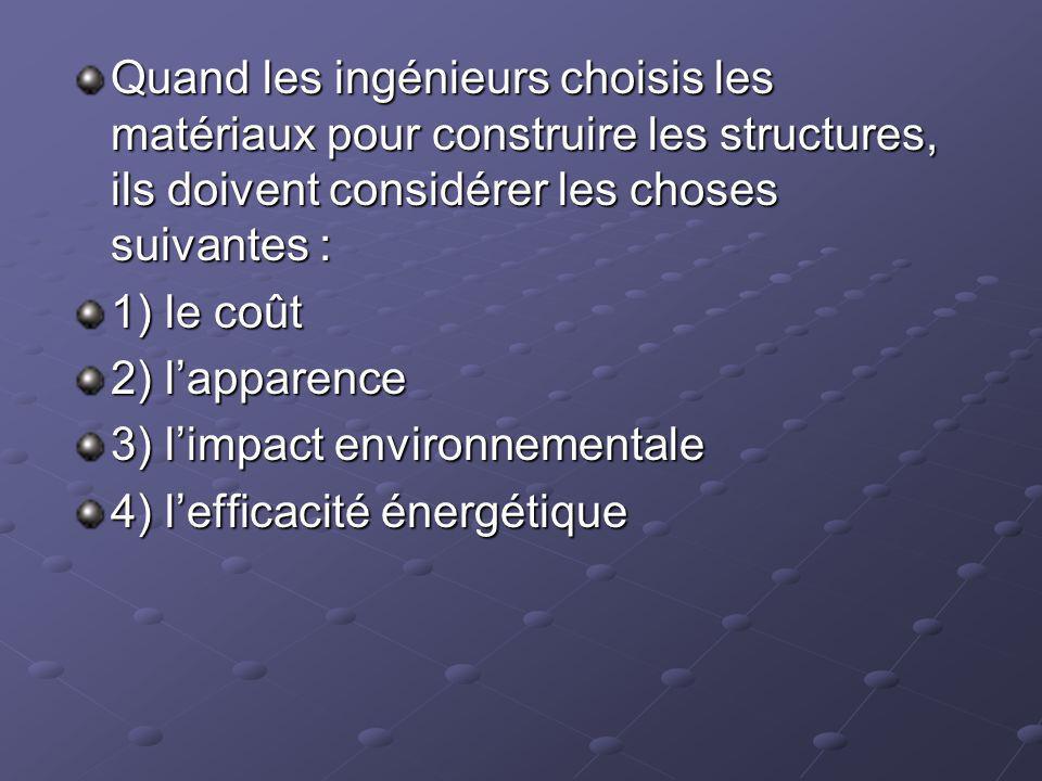 Quand les ingénieurs choisis les matériaux pour construire les structures, ils doivent considérer les choses suivantes : 1) le coût 2) lapparence 3) l