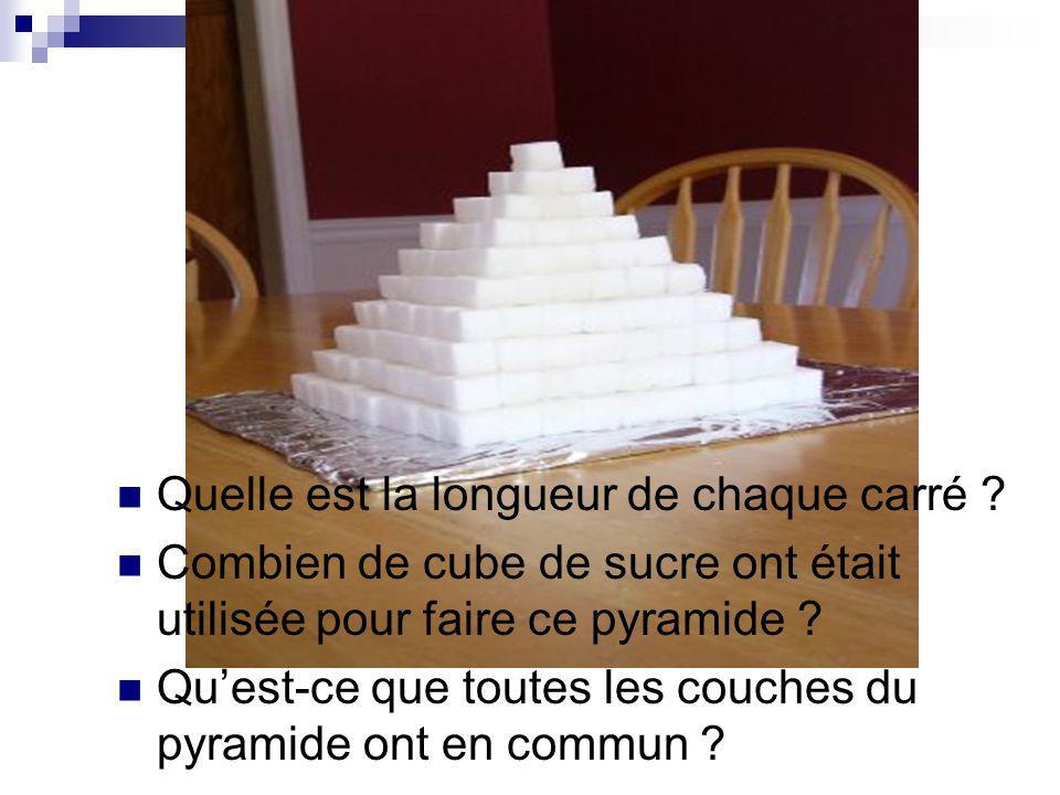 Quelle est la longueur de chaque carré ? Combien de cube de sucre ont était utilisée pour faire ce pyramide ? Quest-ce que toutes les couches du pyram