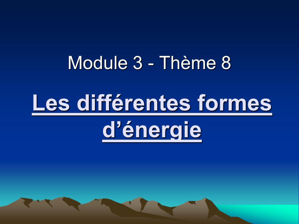 Les différentes formes dénergie Module 3 - Thème 8