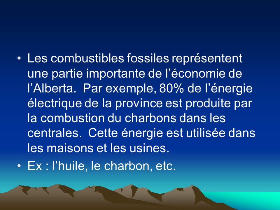 Les combustibles fossiles représentent une partie importante de léconomie de lAlberta. Par exemple, 80% de lénergie électrique de la province est prod