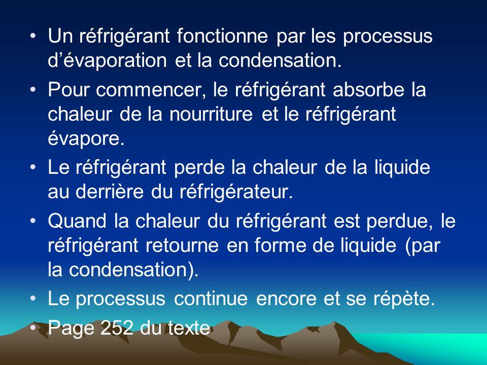 Un réfrigérant fonctionne par les processus dévaporation et la condensation. Pour commencer, le réfrigérant absorbe la chaleur de la nourriture et le