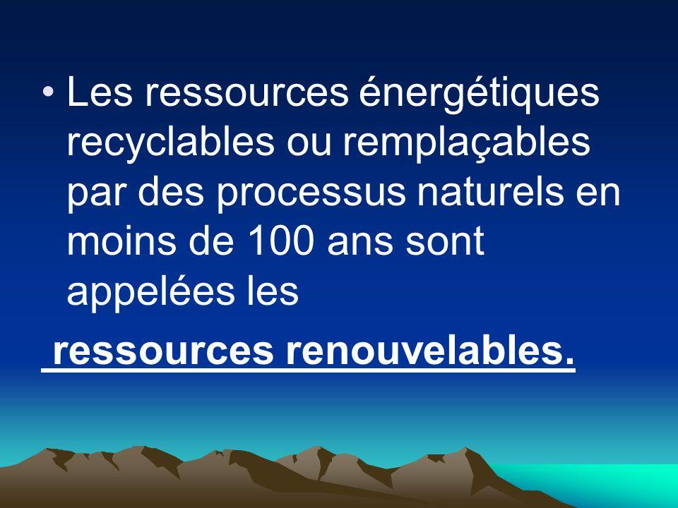 Les ressources énergétiques recyclables ou remplaçables par des processus naturels en moins de 100 ans sont appelées les ressources renouvelables.