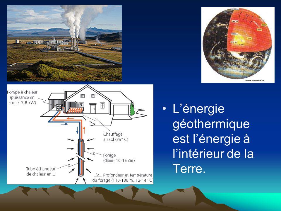 Lénergie géothermique est lénergie à lintérieur de la Terre.