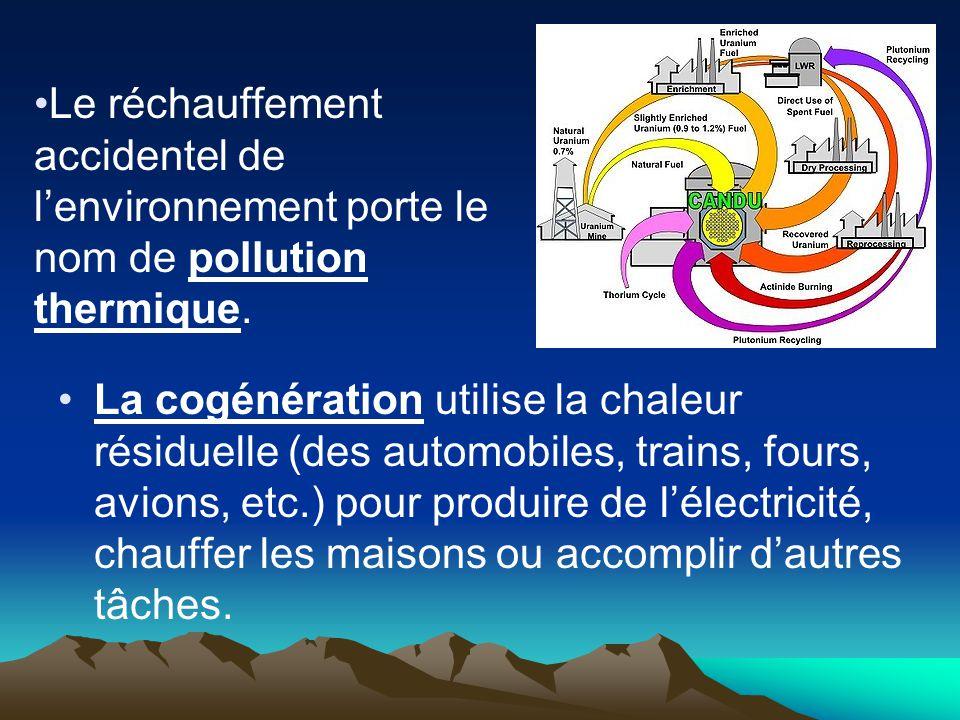 La cogénération utilise la chaleur résiduelle (des automobiles, trains, fours, avions, etc.) pour produire de lélectricité, chauffer les maisons ou ac