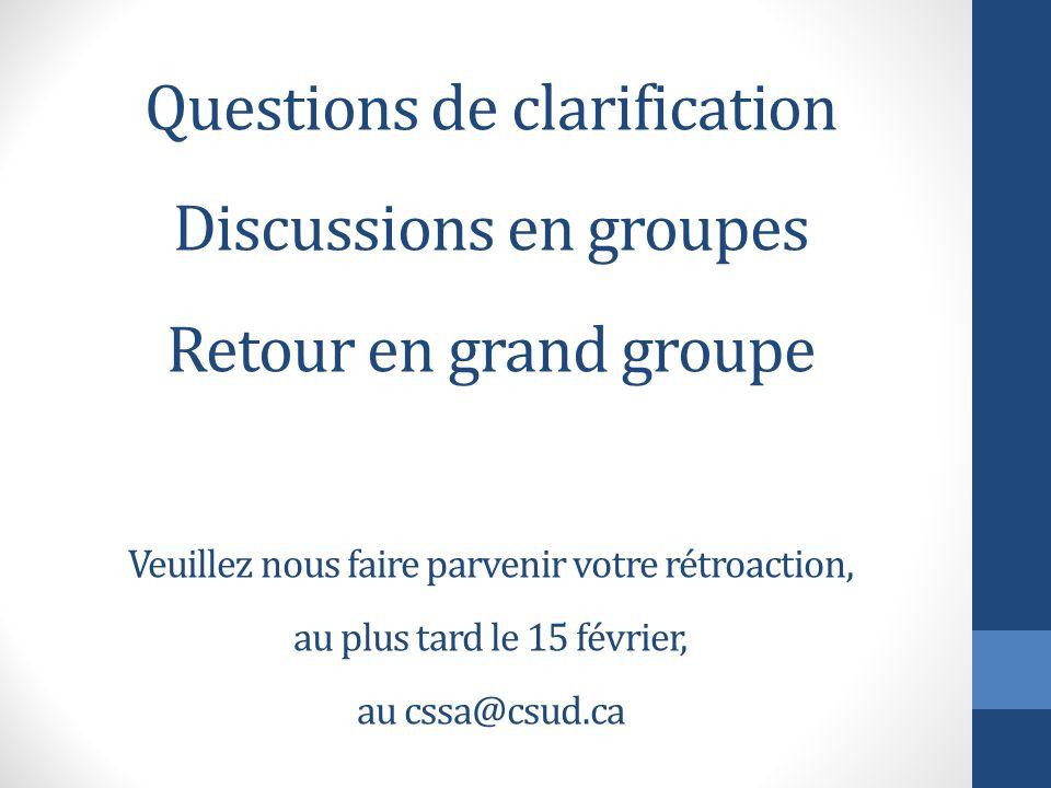 Questions de clarification Discussions en groupes Retour en grand groupe Veuillez nous faire parvenir votre rétroaction, au plus tard le 15 février, au cssa@csud.ca