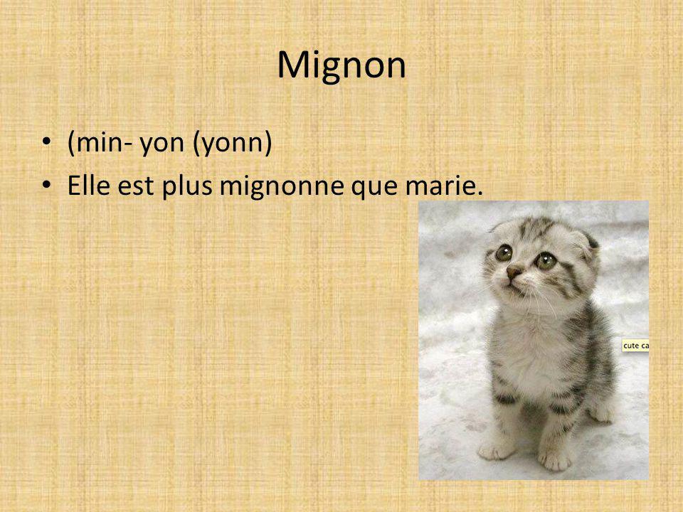 Mignon (min- yon (yonn) Elle est plus mignonne que marie.