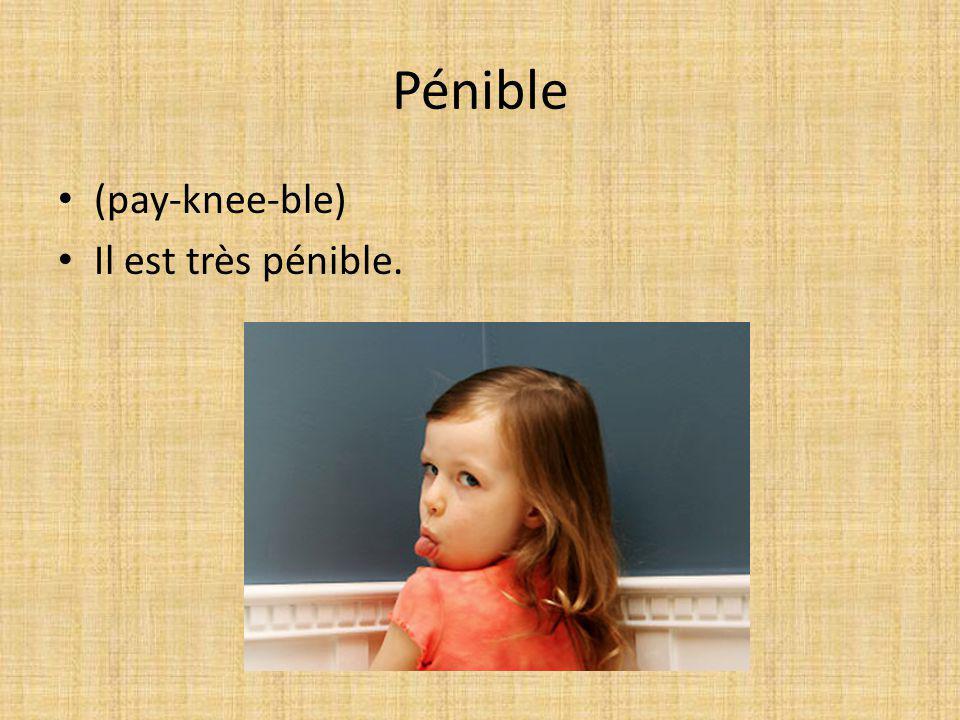 Pénible (pay-knee-ble) Il est très pénible.