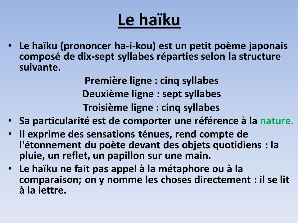 Le haïku Le haïku (prononcer ha-i-kou) est un petit poème japonais composé de dix-sept syllabes réparties selon la structure suivante. Première ligne