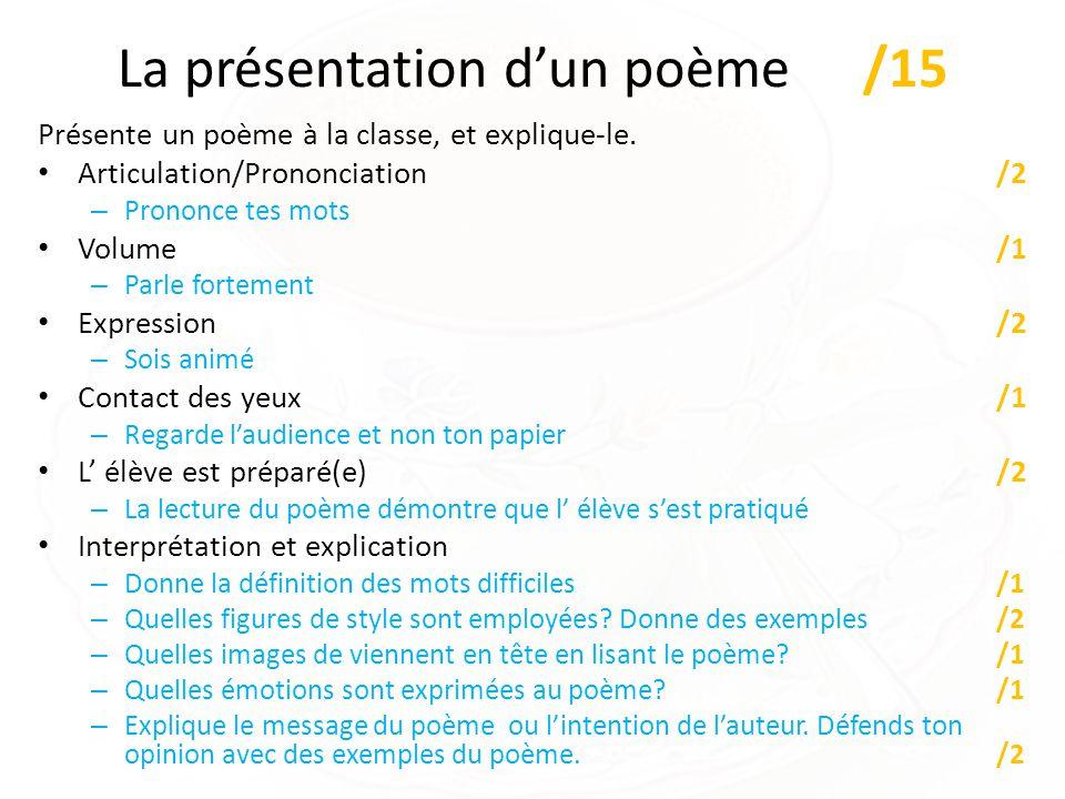 La présentation dun poème /15 Présente un poème à la classe, et explique-le. Articulation/Prononciation /2 – Prononce tes mots Volume/1 – Parle fortem