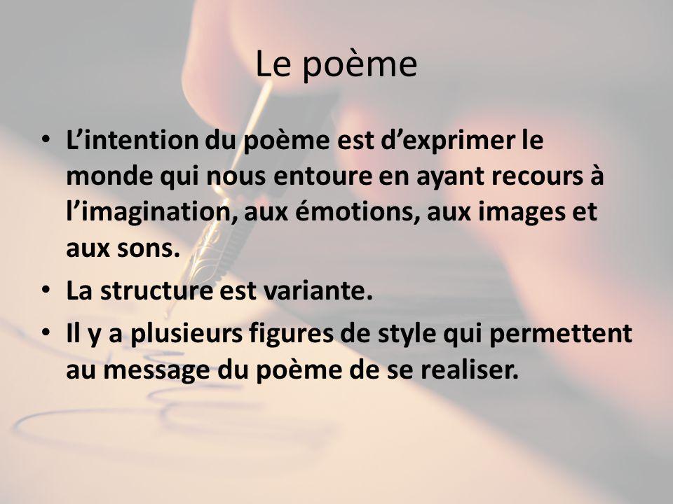 Le poème Lintention du poème est dexprimer le monde qui nous entoure en ayant recours à limagination, aux émotions, aux images et aux sons. La structu