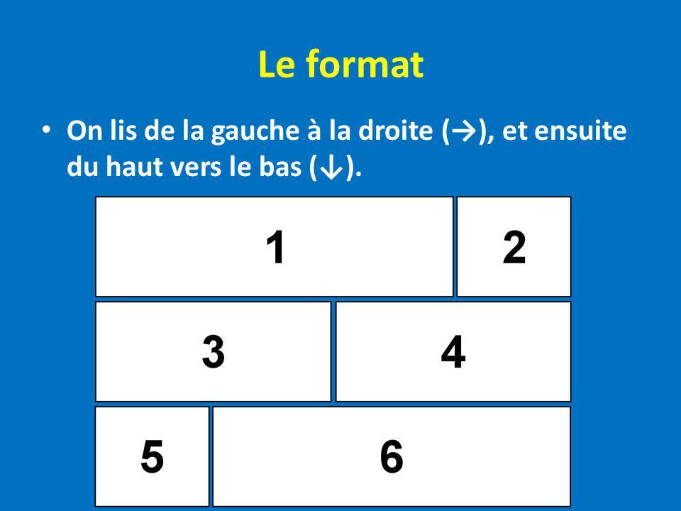Le format On lis de la gauche à la droite (), et ensuite du haut vers le bas ().