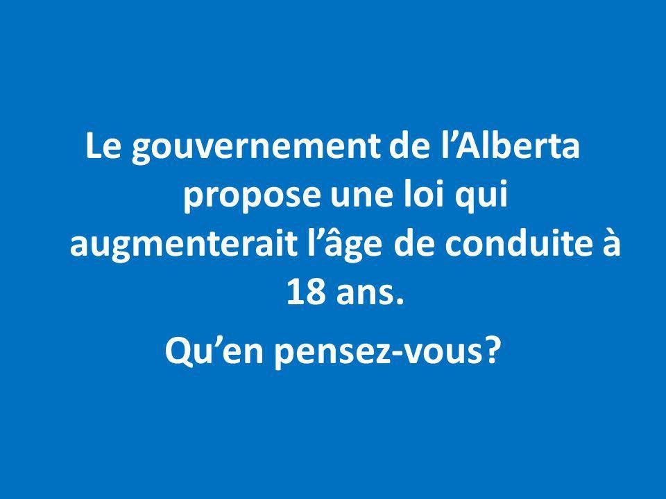 Le gouvernement de lAlberta propose une loi qui augmenterait lâge de conduite à 18 ans. Quen pensez-vous?